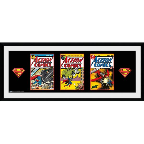 Superman - 3 Comics Framed Print 30 x 75