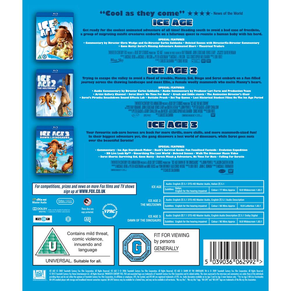 Ice Age Ice Age 2 The Meltdown Ice Age 3 Dawn Of The Dinosaurs Blu Ray Deff Com